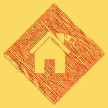 Home silhouette with tag. Vector. Red scribble icon obtained as a result of subtraction rhomb and path. Royal yellow background. Illustration