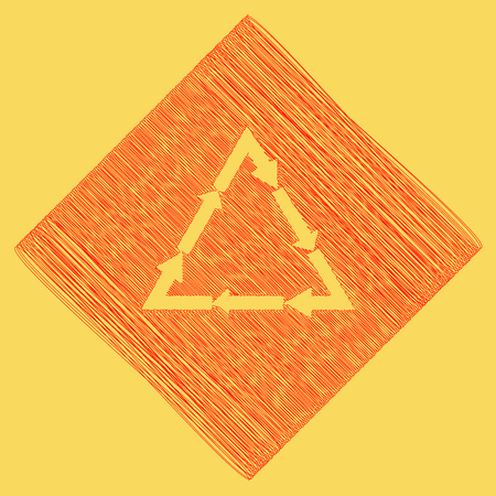 v cycle: Plastic recycling symbol PVC 3 , Plastic recycling code PVC 3. Vector. Red scribble icon obtained as a result of subtraction rhomb and path. Royal yellow background.
