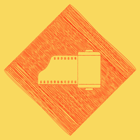 Old photo camera casset sign. Vector. Red scribble icon obtained as a result of subtraction rhomb and path. Royal yellow background. Illustration