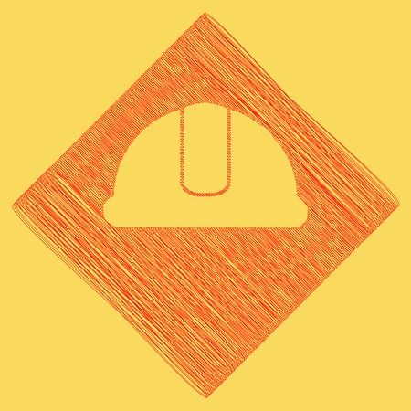 Hardhat sign. Vector. Red scribble icon obtained as a result of subtraction rhomb and path. Royal yellow background.