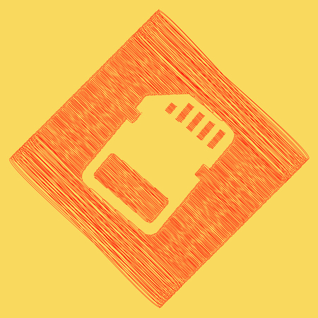 Memory card sign. Vector. Red scribble icon obtained as a result of subtraction rhomb and path. Royal yellow background. Illustration