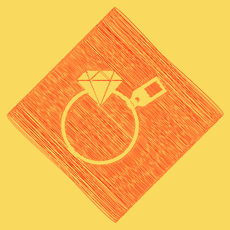 Diamond sign with tag. Vector. Red scribble icon obtained as a result of subtraction rhomb and path. Royal yellow background. Illustration