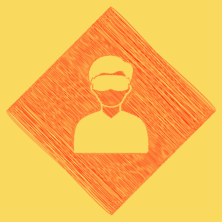 Man with sleeping mask sign. Vector. Red scribble icon obtained as a result of subtraction rhomb and path. Royal yellow background. Illustration