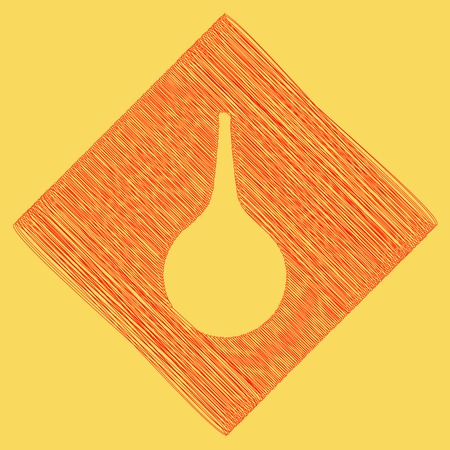 Enema sign. Vector. Red scribble icon obtained as a result of subtraction rhomb and path. Royal yellow background.