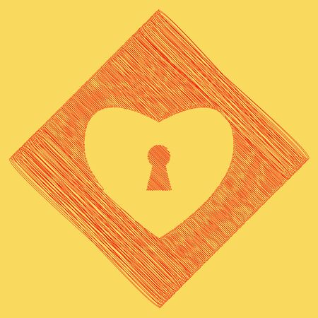 cor: Heart with lock sign. Vector. Red scribble icon obtained as a result of subtraction rhomb and path. Royal yellow background.