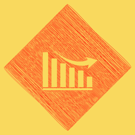 declining: Declining graph sign. Vector. Red scribble icon obtained as a result of subtraction rhomb and path. Royal yellow background.