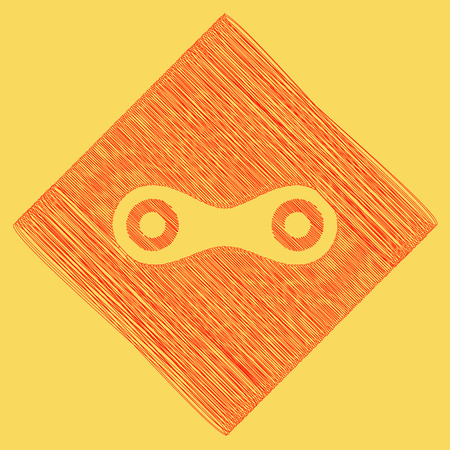 Link sign illustration. Vector. Red scribble icon obtained as a result of subtraction rhomb and path. Royal yellow background. Illustration