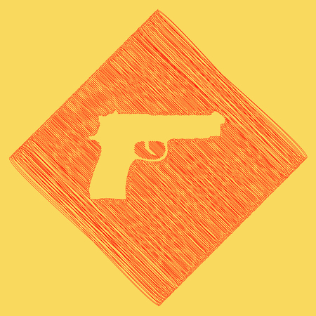 Gun sign illustration. Vector. Red scribble icon obtained as a result of subtraction rhomb and path. Royal yellow background.