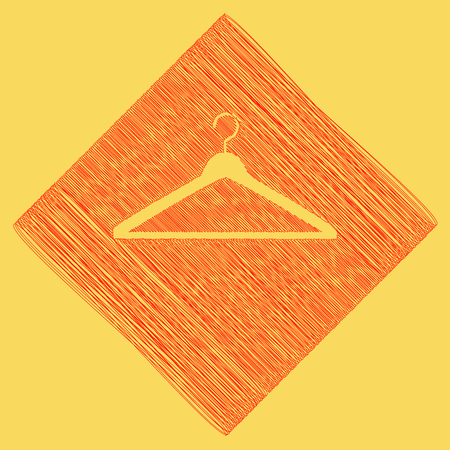 closet: Hanger sign illustration. Vector. Red scribble icon obtained as a result of subtraction rhomb and path. Royal yellow background. Illustration