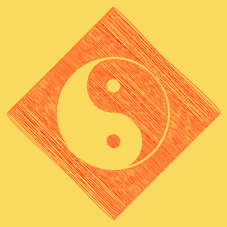 subtraction: Ying yang symbol of harmony and balance. Vector. Red scribble icon obtained as a result of subtraction rhomb and path. Royal yellow background.