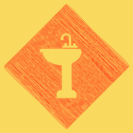 Bathroom sink sign. Vector. Red scribble icon obtained as a result of subtraction rhomb and path. Royal yellow background. Illustration