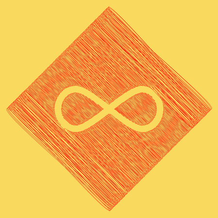 Limitless symbol illustration. Vector. Red scribble icon obtained as a result of subtraction rhomb and path. Royal yellow background. Illustration