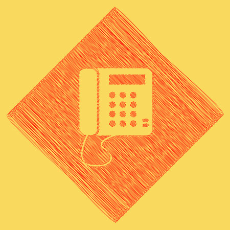 subtraction: Communication or phone sign. Vector. Red scribble icon obtained as a result of subtraction rhomb and path. Royal yellow background.