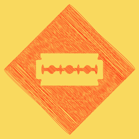 dangerous man: Razor blade sign. Vector. Red scribble icon obtained as a result of subtraction rhomb and path. Royal yellow background.