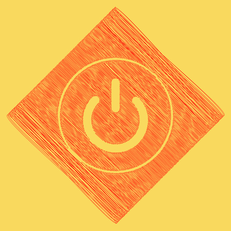 On Off switch sign. Vector. Red scribble icon obtained as a result of subtraction rhomb and path. Royal yellow background.