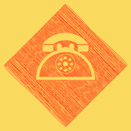 subtraction: Retro telephone sign. Vector. Red scribble icon obtained as a result of subtraction rhomb and path. Royal yellow background. Illustration