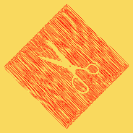 Scissors sign illustration. Vector. Red scribble icon obtained as a result of subtraction rhomb and path. Royal yellow background. Illustration