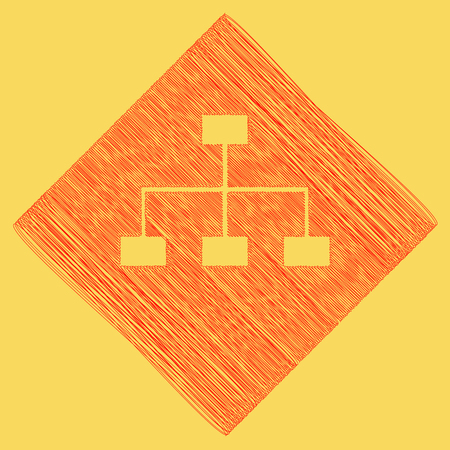 Site map sign. Vector. Red scribble icon obtained as a result of subtraction rhomb and path. Royal yellow background. Illustration