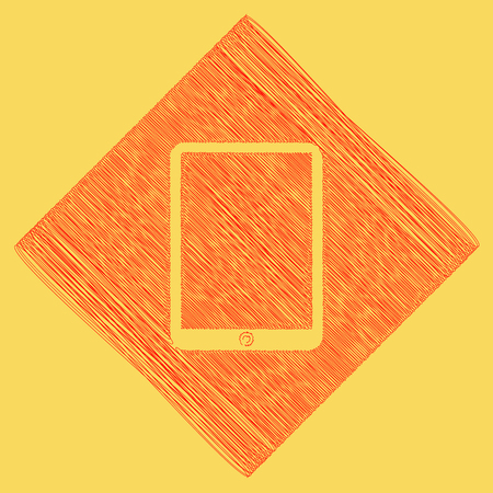 Computer tablet sign. Vector. Red scribble icon obtained as a result of subtraction rhomb and path. Royal yellow background.