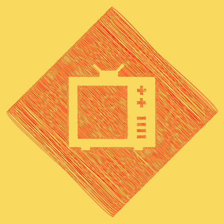 subtraction: TV sign illustration. Vector. Red scribble icon obtained as a result of subtraction rhomb and path. Royal yellow background.