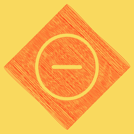 Negative symbol illustration. Minus sign. Vector. Red scribble icon obtained as a result of subtraction rhomb and path. Royal yellow background. Illustration