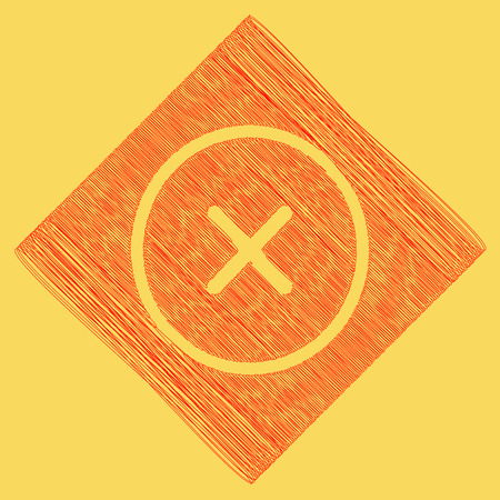 Cross sign illustration. Vector. Red scribble icon obtained as a result of subtraction rhomb and path. Royal yellow background.