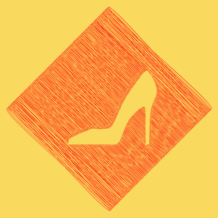 subtraction: Woman shoe sign. Vector. Red scribble icon obtained as a result of subtraction rhomb and path. Royal yellow background.