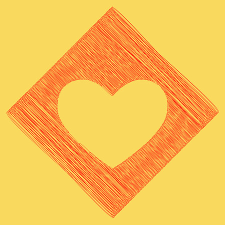 Tie sign. Vector. Red scribble icon obtained as a result of subtraction rhomb and path. Royal yellow background.
