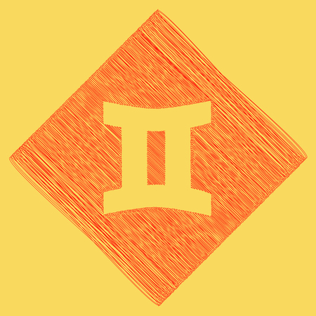 Gemini sign. Vector. Red scribble icon obtained as a result of subtraction rhomb and path. Royal yellow background. Illustration