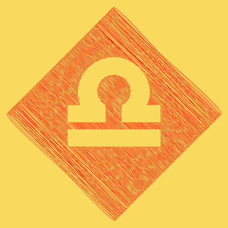 subtraction: Libra sign illustration. Vector. Red scribble icon obtained as a result of subtraction rhomb and path. Royal yellow background.