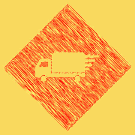semitruck: Delivery sign illustration. Vector. Red scribble icon obtained as a result of subtraction rhomb and path. Royal yellow background. Illustration
