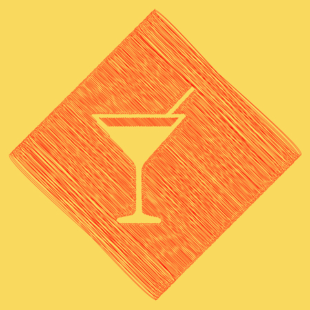 subtraction: Cocktail sign illustration. Vector. Red scribble icon obtained as a result of subtraction rhomb and path. Royal yellow background. Illustration