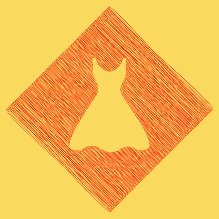 wedding dress: Woman dress sign. Vector. Red scribble icon obtained as a result of subtraction rhomb and path. Royal yellow background.
