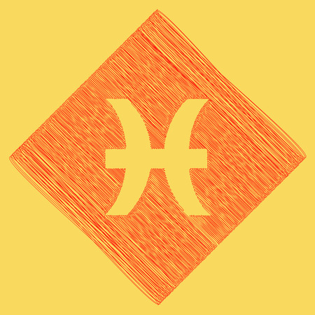 sagitario: Pisces sign illustration. Vector. Red scribble icon obtained as a result of subtraction rhomb and path. Royal yellow background.