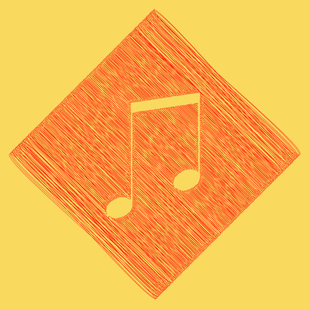 Music sign illustration. Vector. Red scribble icon obtained as a result of subtraction rhomb and path. Royal yellow background. Illustration