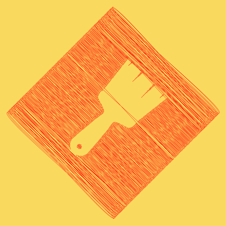 subtraction: Brush sign illustration. Vector. Red scribble icon obtained as a result of subtraction rhomb and path. Royal yellow background. Illustration