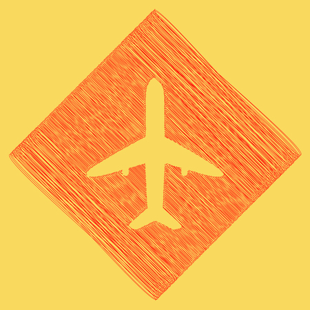 Airplane sign illustration. Vector. Red scribble icon obtained as a result of subtraction rhomb and path. Royal yellow background. Illustration