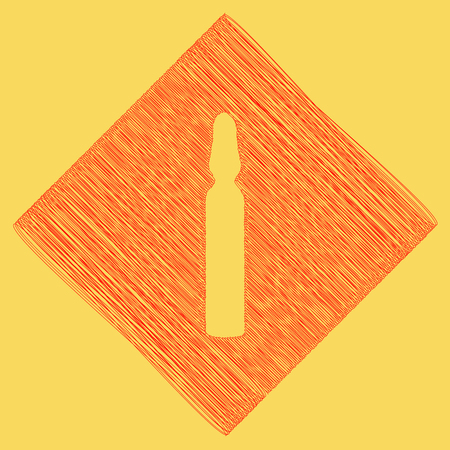 phial: Medical ampoule sign. Vector. Red scribble icon obtained as a result of subtraction rhomb and path. Royal yellow background.