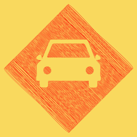 Car sign illustration. Vector. Red scribble icon obtained as a result of subtraction rhomb and path. Royal yellow background.