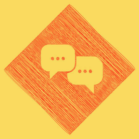 Speech bubbles sign. Vector. Red scribble icon obtained as a result of subtraction rhomb and path. Royal yellow background.