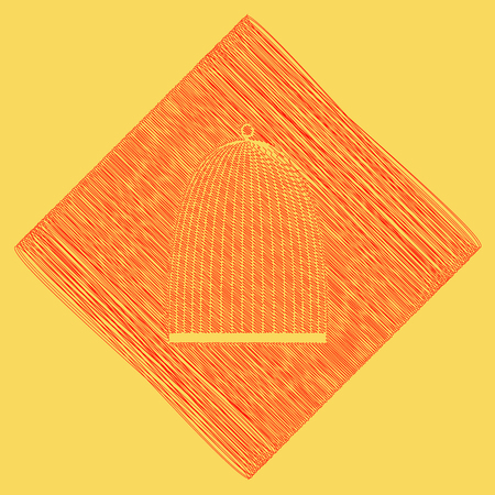 Bird cage sign. Vector. Red scribble icon obtained as a result of subtraction rhomb and path. Royal yellow background.