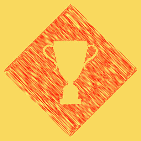 award winning: Champions Cup sign. Vector. Red scribble icon obtained as a result of subtraction rhomb and path. Royal yellow background.