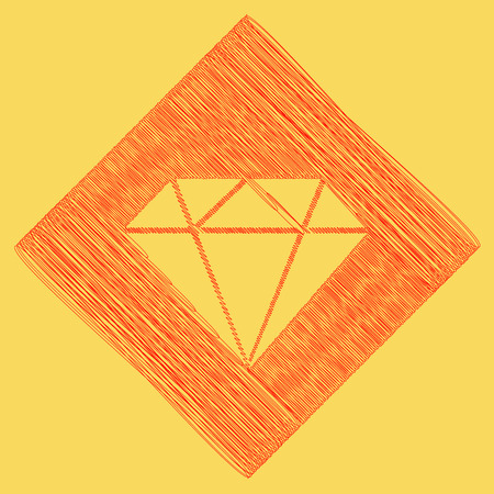 Diamond sign illustration. Vector. Red scribble icon obtained as a result of subtraction rhomb and path. Royal yellow background.