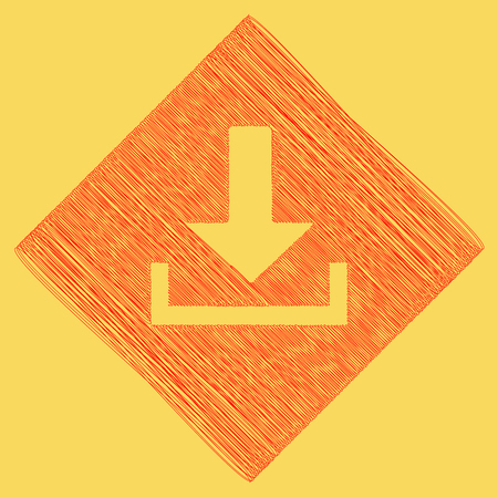 Download sign illustration. Vector. Red scribble icon obtained as a result of subtraction rhomb and path. Royal yellow background. Illustration