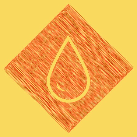 subtraction: Drop of water sign. Vector. Red scribble icon obtained as a result of subtraction rhomb and path. Royal yellow background.
