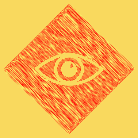Eye sign illustration. Vector. Red scribble icon obtained as a result of subtraction rhomb and path. Royal yellow background.