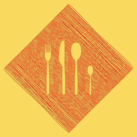 Fork spoon and knife sign. Vector. Red scribble icon obtained as a result of subtraction rhomb and path. Royal yellow background.