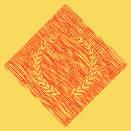 subtraction: Laurel Wreath sign. Vector. Red scribble icon obtained as a result of subtraction rhomb and path. Royal yellow background.