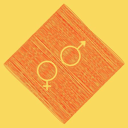 セックス シンボル サイン。ベクトル。赤い落書きアイコン減算菱形とパスの結果として得られます。ロイヤル黄色背景。