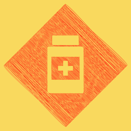 subtraction: Medical container sign. Vector. Red scribble icon obtained as a result of subtraction rhomb and path. Royal yellow background.